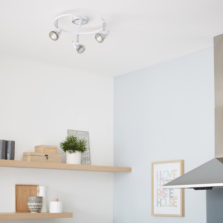 plafonnier 3 spots worm 3 xgu10 blanc inspire leroy merlin. Black Bedroom Furniture Sets. Home Design Ideas