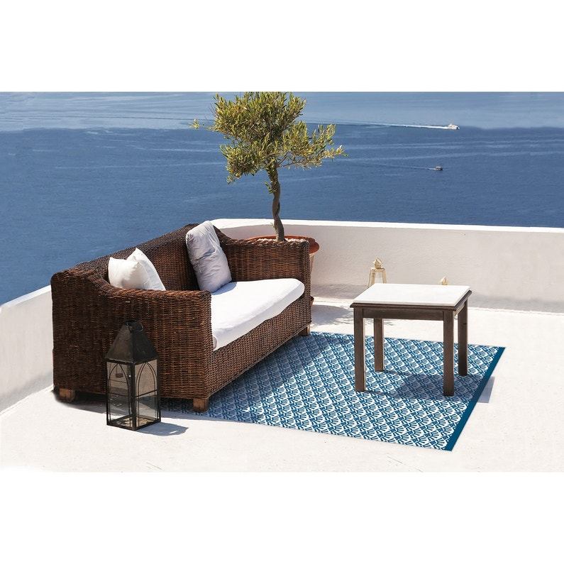 tapis de sol blanc bleu santorin 180cm leroy merlin. Black Bedroom Furniture Sets. Home Design Ideas