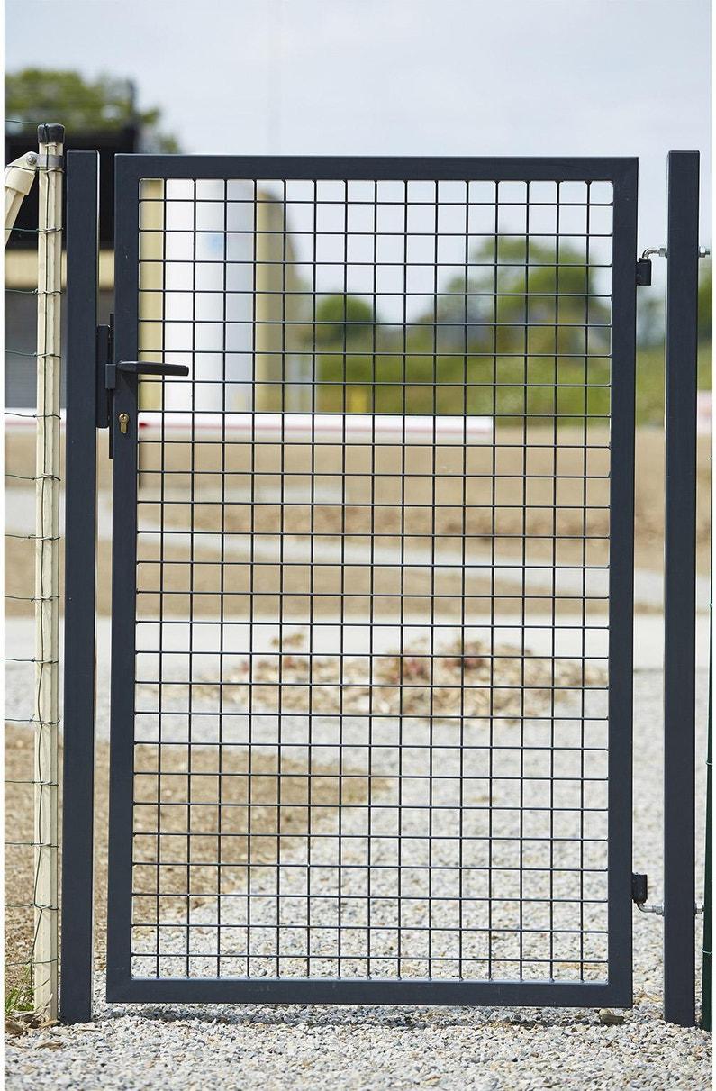 Portillon Grillagé Eco Garden L100 X H150 Cm Gris