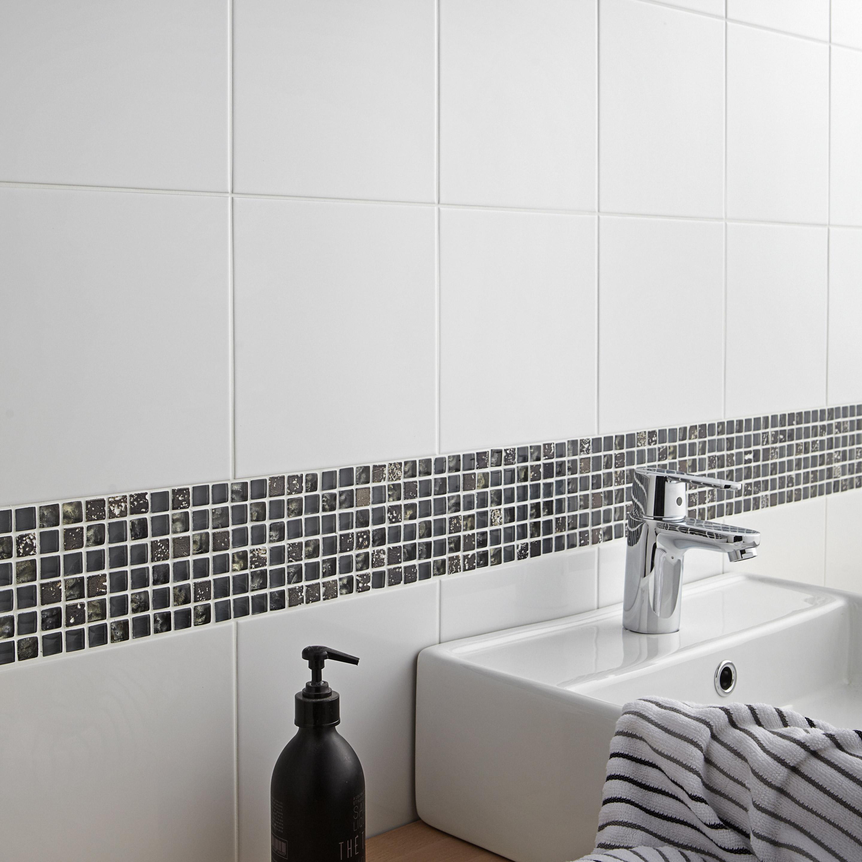 Faïence Mur Blanc Brillante L.20 X L.20 Cm, Basic