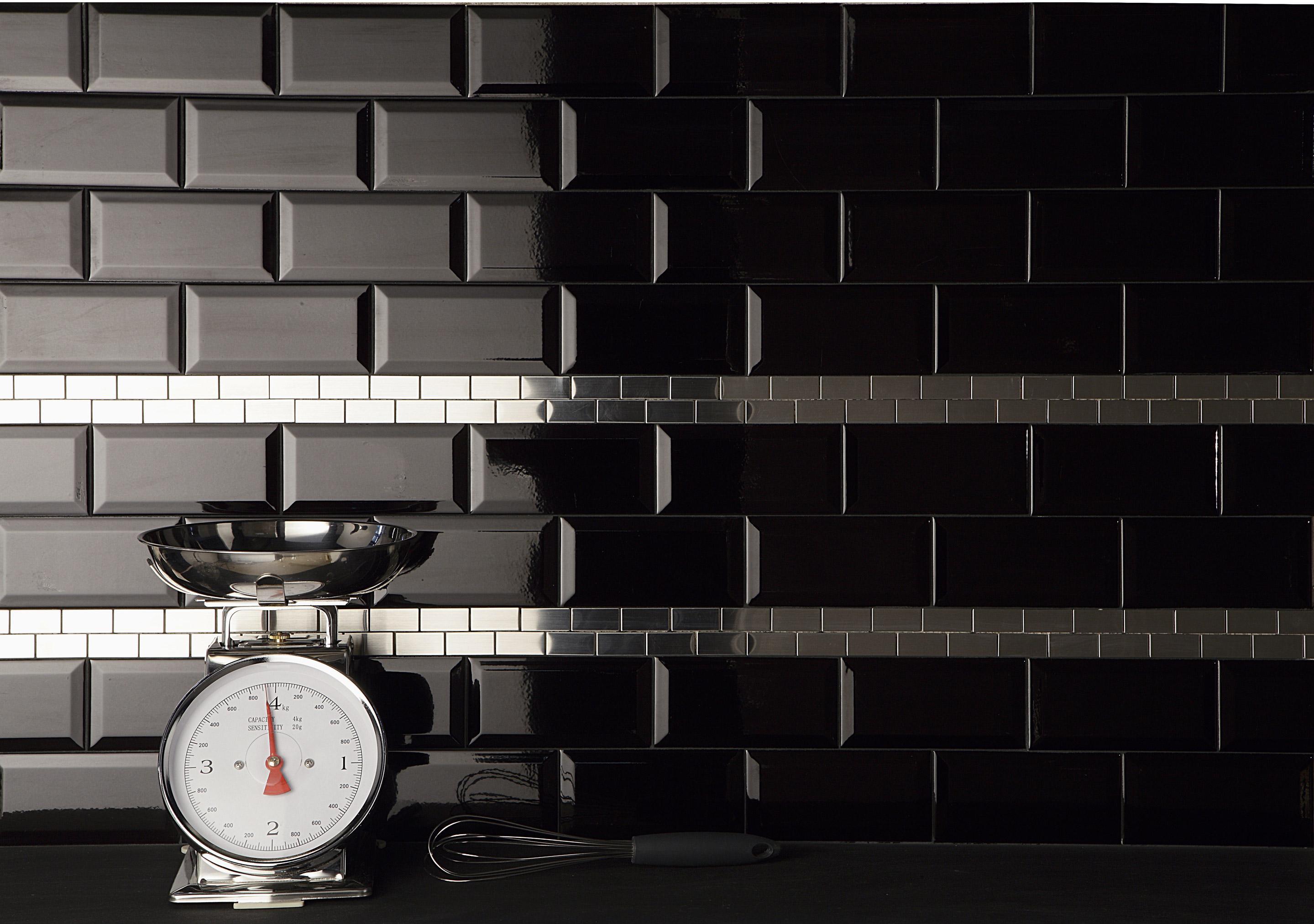 Carrelage mur uni noir brillante l.7.5 x L.15 cm, Metro EL BARCO