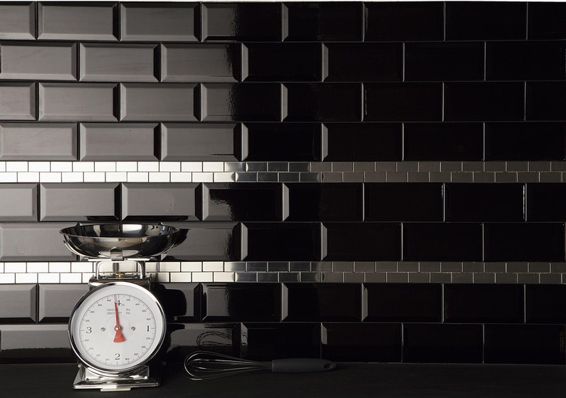 Carrelage mur uni noir brillante l.7.5 x l.15 cm metro leroy merlin
