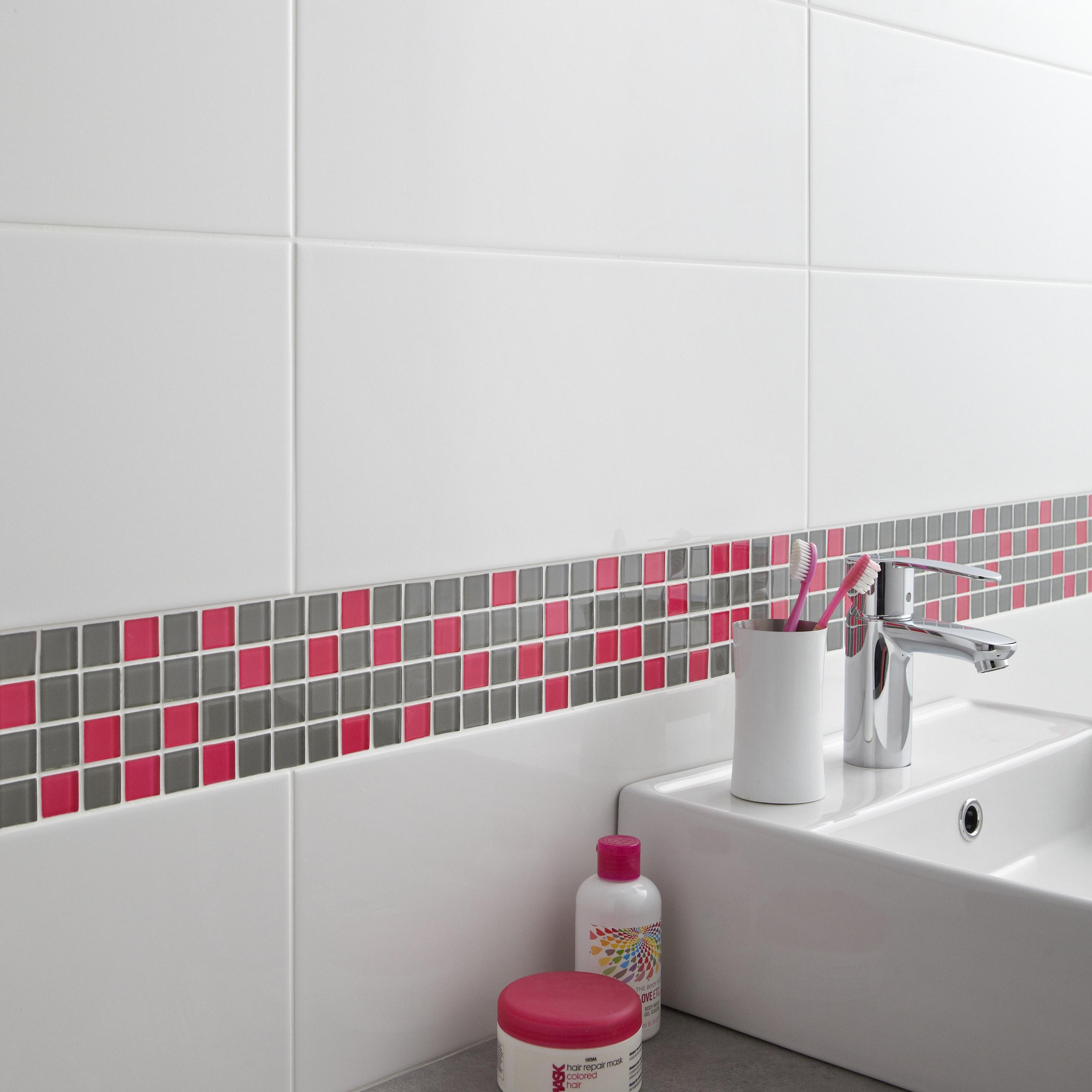 Faïence mur uni blanc-blanc n°0 brillant l.20 x L.50.2 cm, Loft