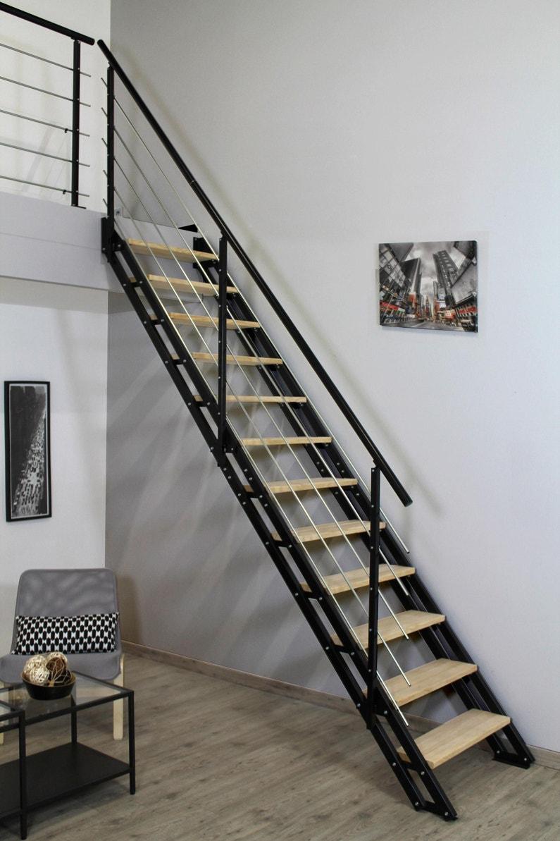 Escalier Bois Metal Noir escalier droit acier noir escavario 12 marches hêtre naturel, l.80 cm