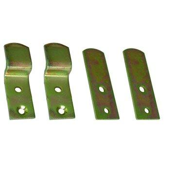 Lot de 2 supports coudes + 2 contreplaques en acier zingué pour volets