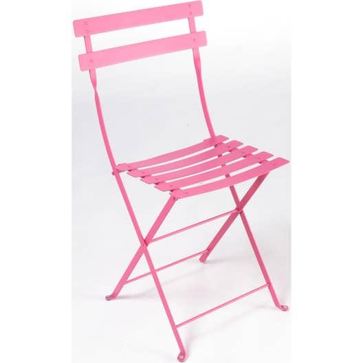 Chaise de jardin en acier Bistro fuchsia | Leroy Merlin