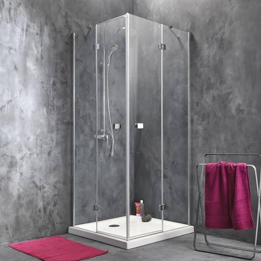 Porte de douche angle carr x cm transparent for Poser porte de douche