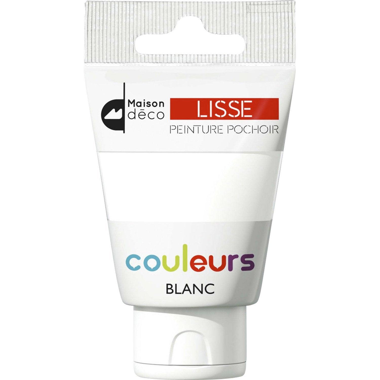 Peinture Pochoirs Blanc Satin MAISON DECO Peinture Pochoir Couleur 0.06 L