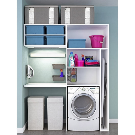 meuble de rangement spaceo home blanc leroy merlin. Black Bedroom Furniture Sets. Home Design Ideas