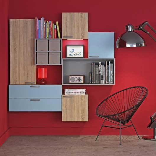 meuble de rangement spaceo home effet noyer leroy merlin. Black Bedroom Furniture Sets. Home Design Ideas