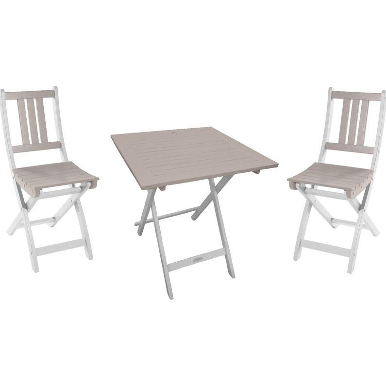 Table de jardin CITY GREEN Burano carrée argile douce 2 personnes ...