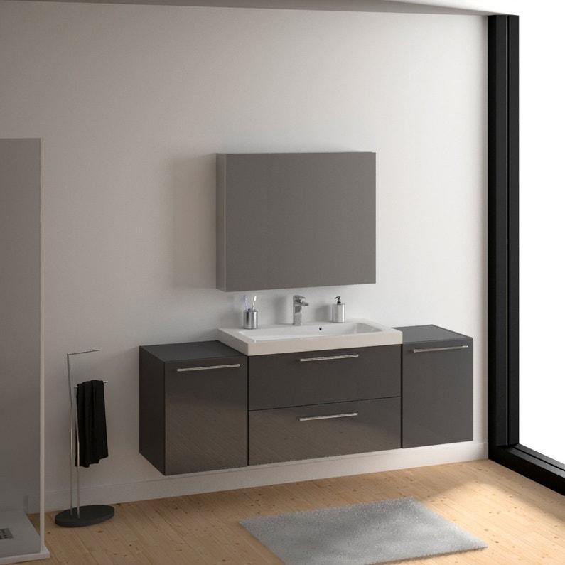 une salle de bains pratique avec un meuble sous vasque gris leroy merlin. Black Bedroom Furniture Sets. Home Design Ideas