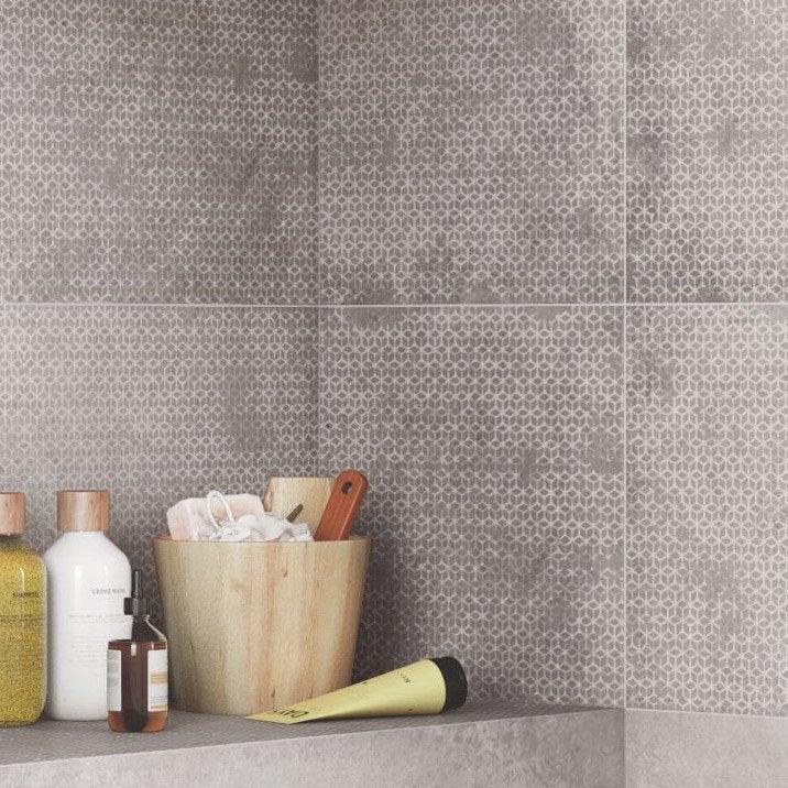 Carrelage mur gris/greige, Decor harlem origami l.30 x L.120 cm
