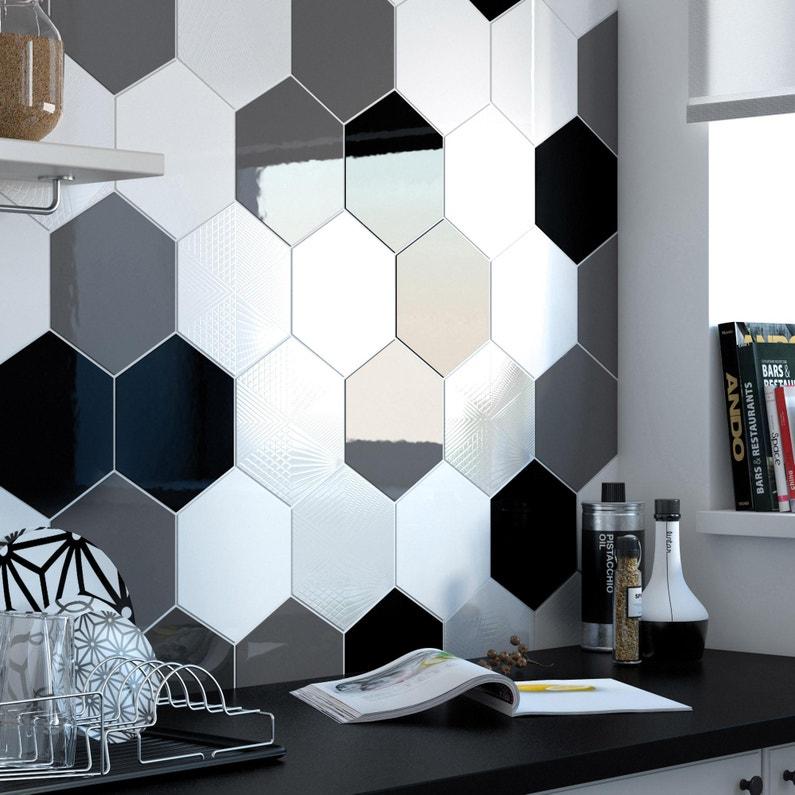 Carrelage Mur Noir Brillant L 17 5 X L 20 Cm Hexa