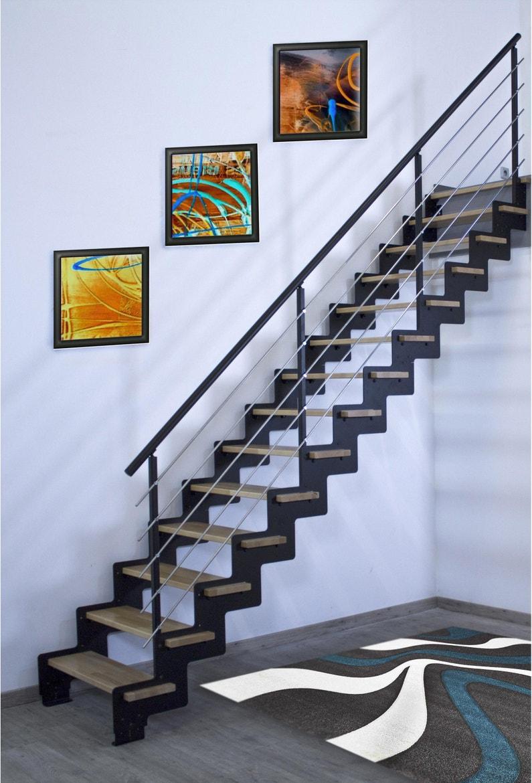 Escalier Bois Metal Noir escalier droit acier noir crémaillère 14 marches hêtre verni, l.85 cm
