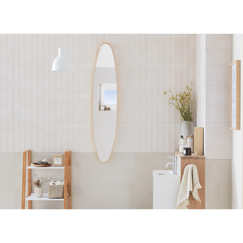 Miroir ovale, dorée, l.25 x H.119 cm
