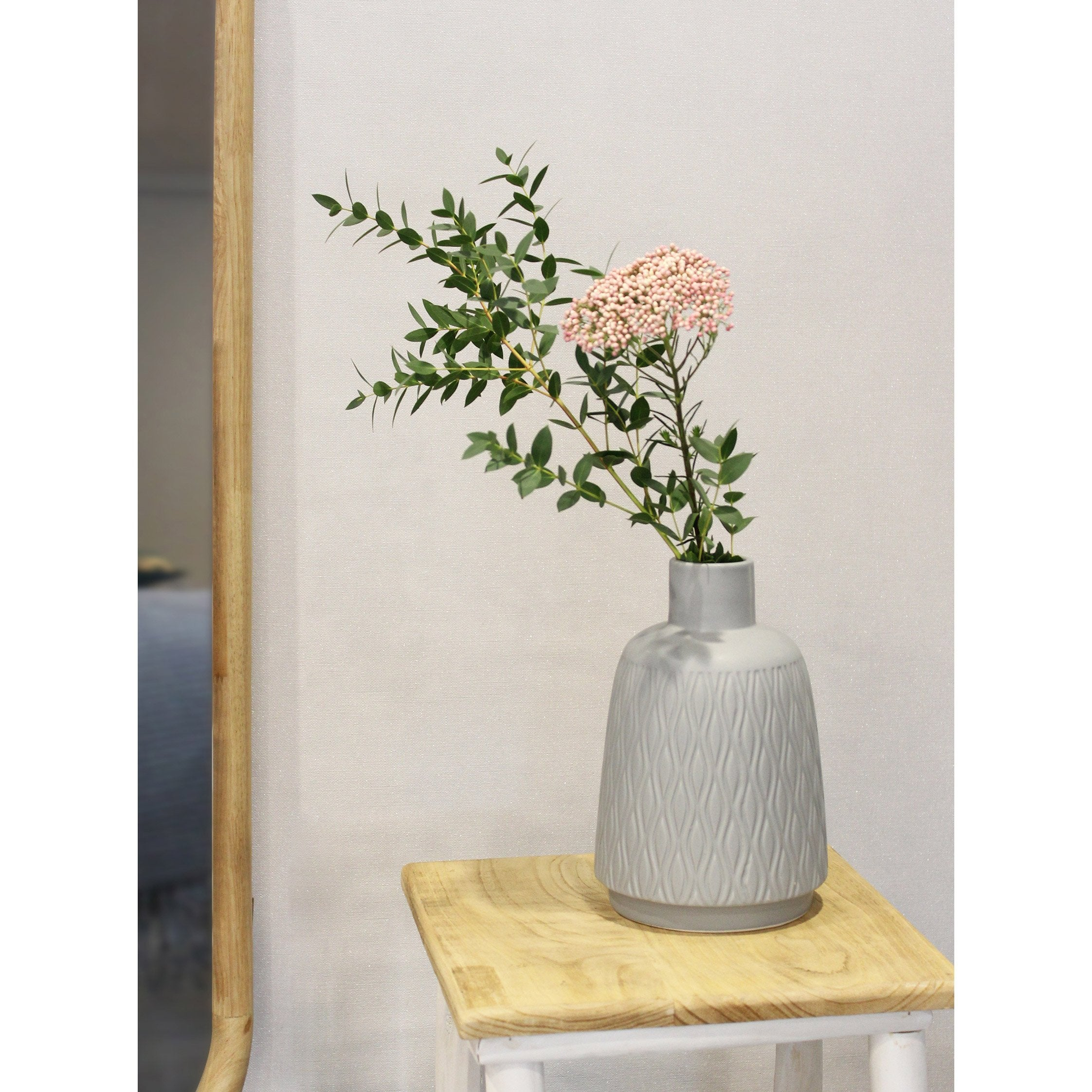 Vasedécoratif céramique Gaspard, gris / argent, Diam.15 cm x H.22 cm