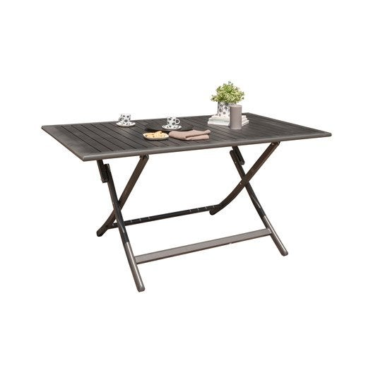 table de jardin miami rectangulaire gris anthracite 4 personnes leroy merlin. Black Bedroom Furniture Sets. Home Design Ideas