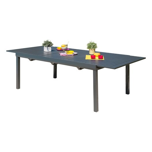 table de jardin miami rectangulaire gris anthracite 8 personnes