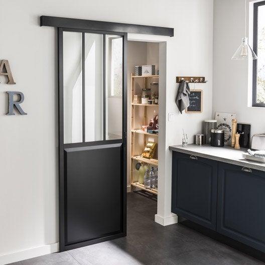 porte coulissante laqu e noir atelier verre clair artens. Black Bedroom Furniture Sets. Home Design Ideas