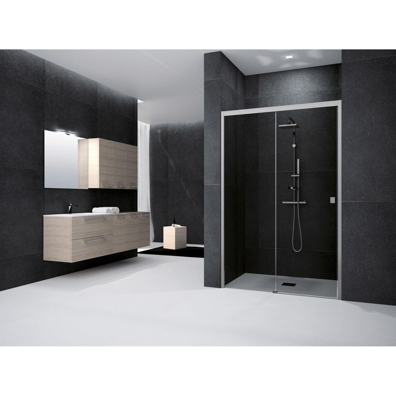 Porte de douche coulissante 130 cm fum neo leroy merlin - Porte coulissante pour douche de 130 cm ...