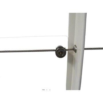 Lot de 6 fixations pour garde-corps TIERAL métal gris H.4.5 x l.2.7 cm