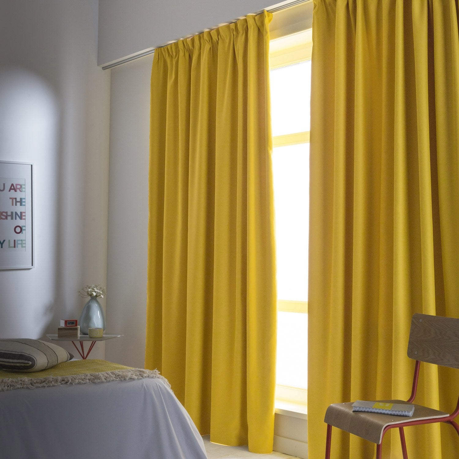 Rideau occultant blackout jaune anis n 4 x for Rideau occultant chambre