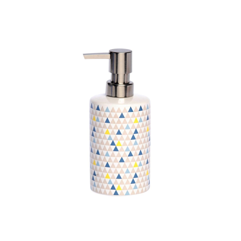Distributeur de savon céramique Geometric, bleu gris vert jaune