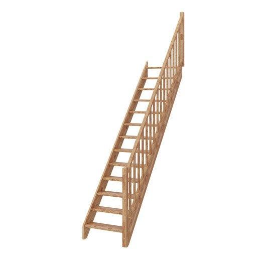 escalier droit deva structure bois lamell coll marche bois lamell coll - Abri Piscine Bois Lamelle Colle