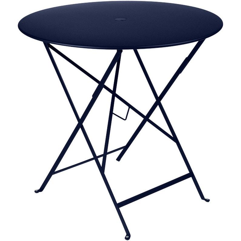 Table de jardin de repas FERMOB Bistro ronde bleu abysse 4 personnes