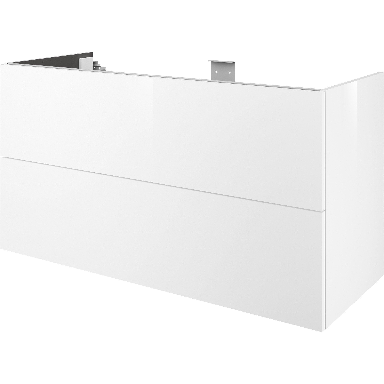 Meuble De Salle De Bains L 120 X H 64 X P 48 Cm Blanc