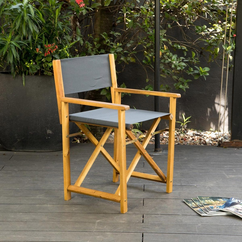 Lot de 2 chaises type metteur en scène de jardin en acacia couleur teck