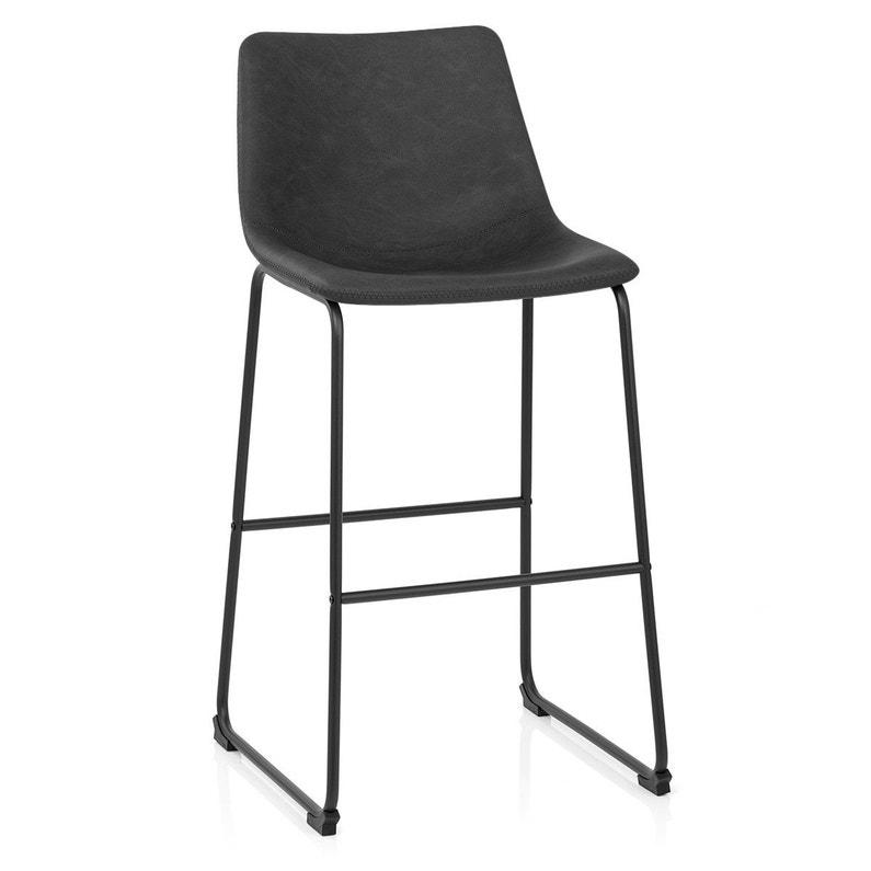 Chaise De Bar Industriel Simili Cuir Noir Bucket Antique