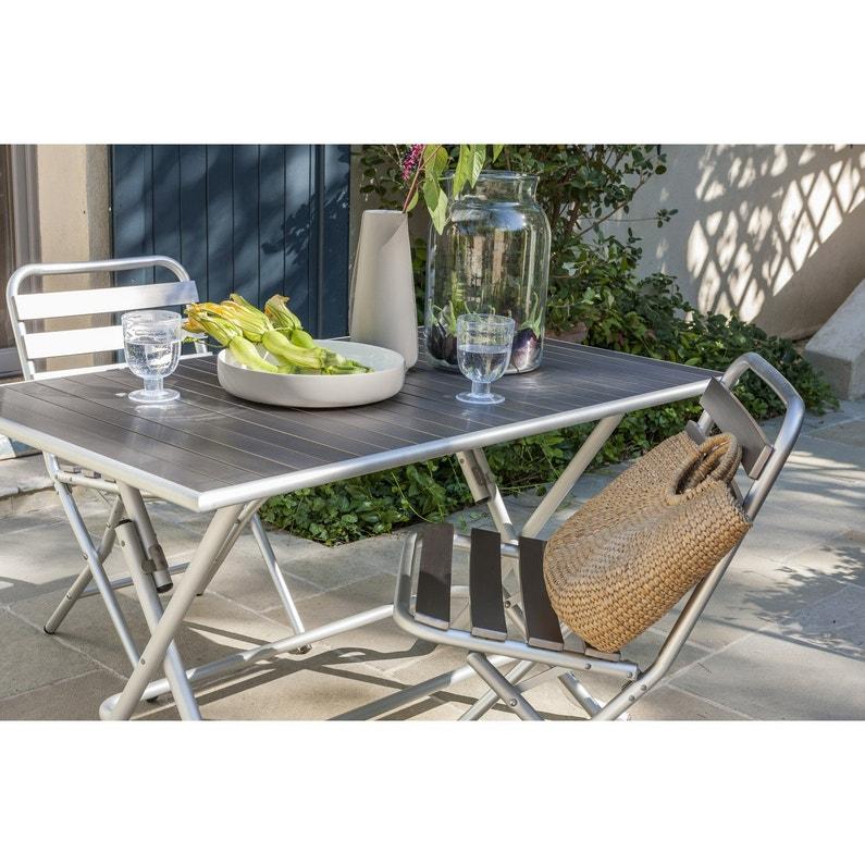 Chaise de jardin en aluminium Boston gris | Leroy Merlin
