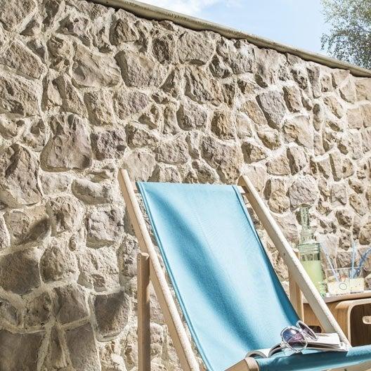 Plaquette de parement b ton beige nuanc easyblock florac - Revetement mural pierre leroy merlin ...