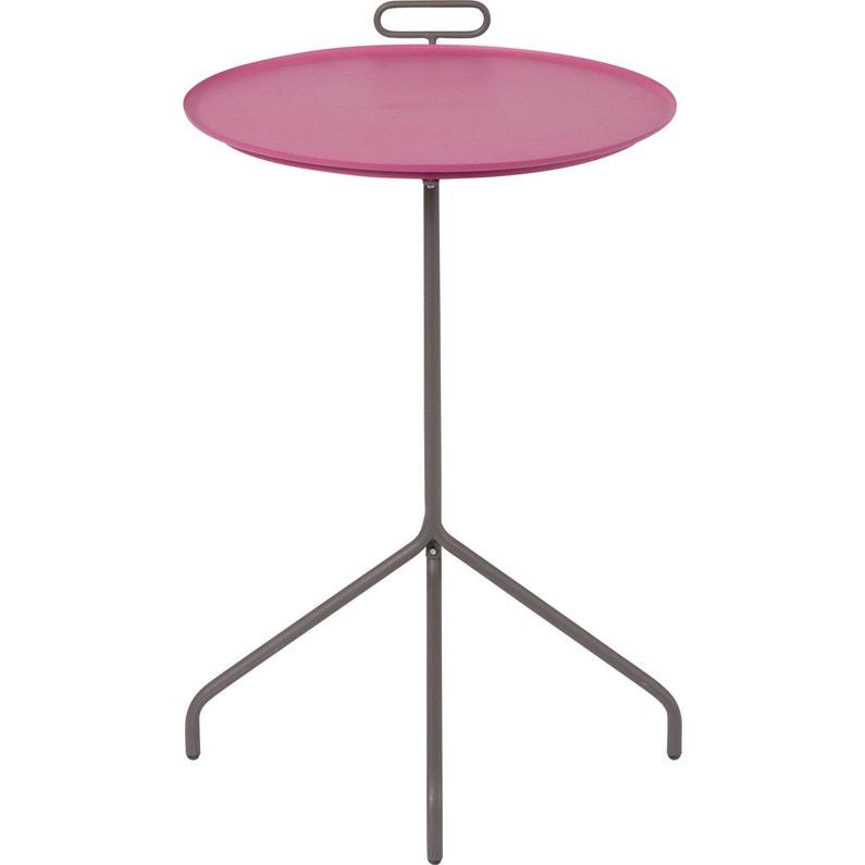 Table de jardin de repas Guéridon ronde rose 2 personnes
