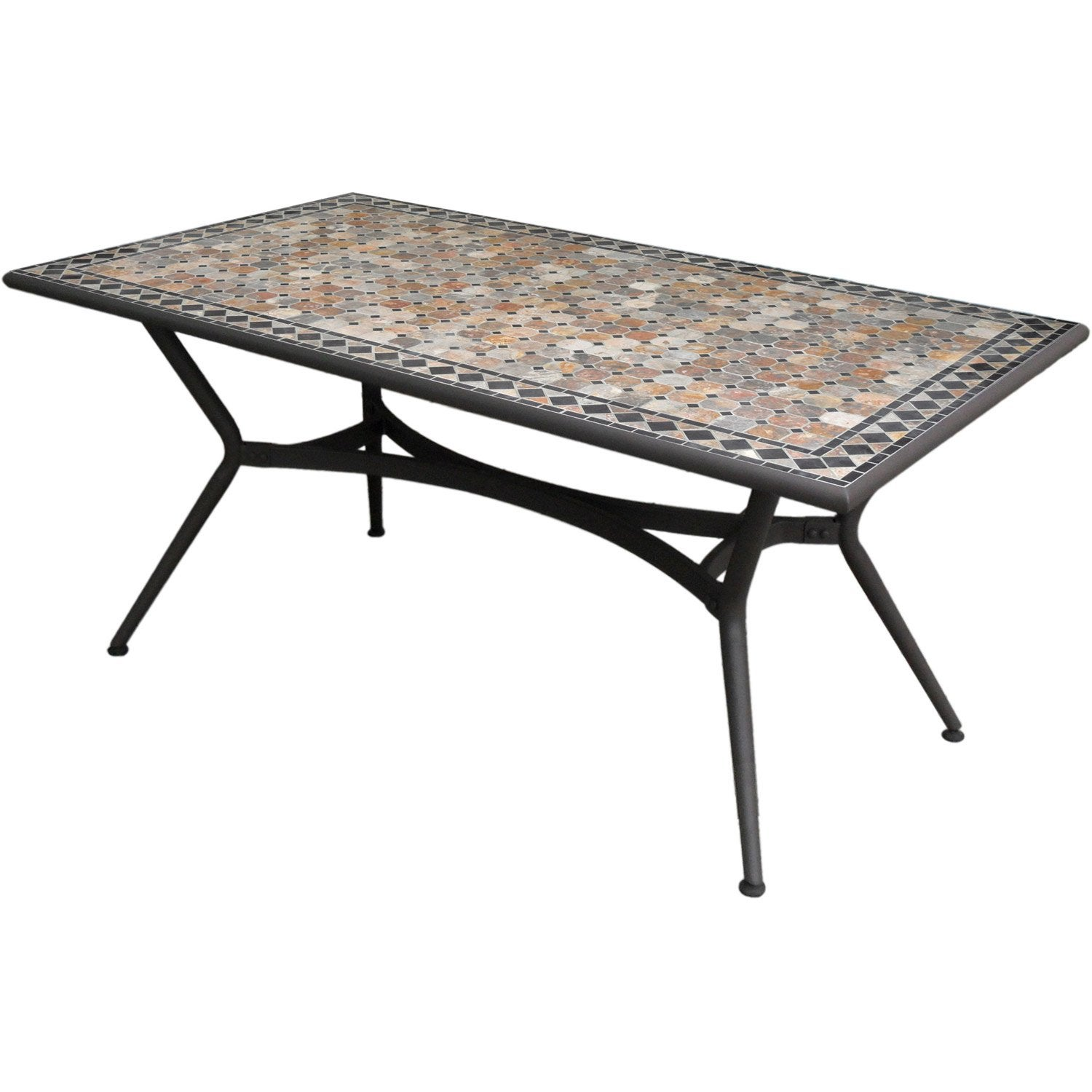 Table de jardin marocco rectangulaire anthracite 6 personnes leroy merlin - Table de jardin pliante chez carrefour ...