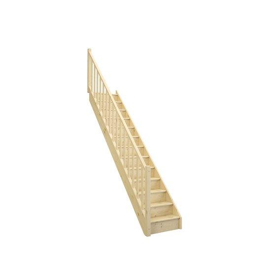 Escalier droit deva structure bois marche bois leroy merlin for Marche pour escalier bois