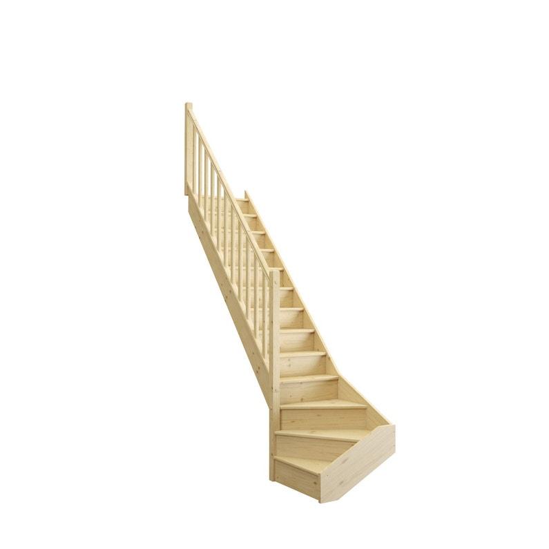Escalier 1 4 Tournant Bas Gauche Bois Sapin Deva 2 13 Marches Sapin L 76