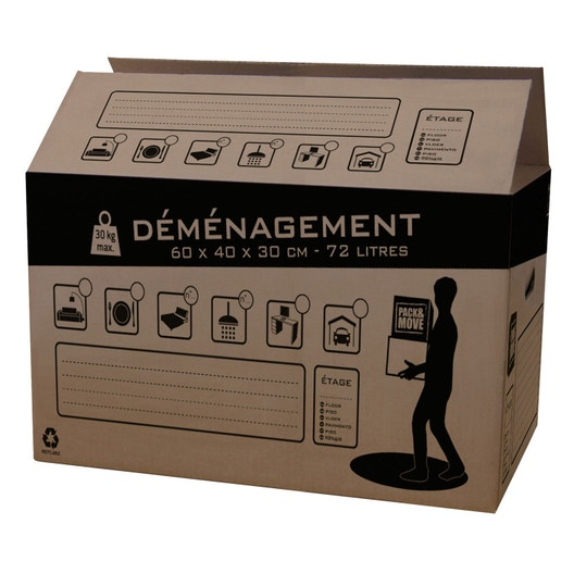 carton de d m nagement 72 l cm x cm x cm leroy merlin. Black Bedroom Furniture Sets. Home Design Ideas