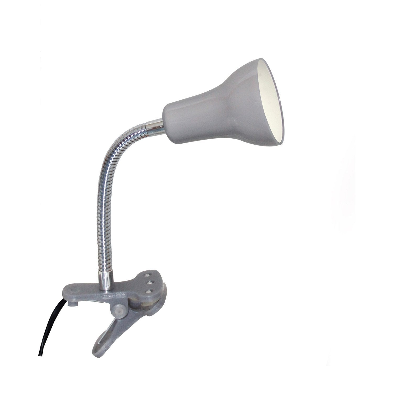 lampe de bureau gu10 pince gris argent led salta inspire leroy merlin. Black Bedroom Furniture Sets. Home Design Ideas