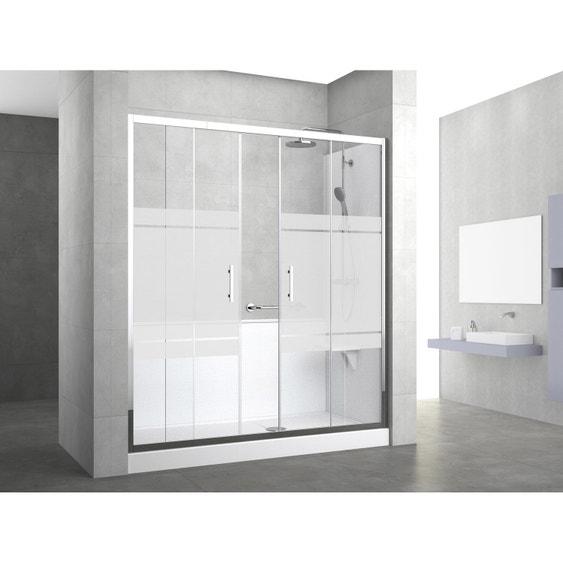 Douche 3 Murs kit de remplacement baignoire par douche entre 3 murs 170 x 80 cm