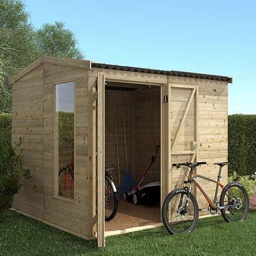 Abri de jardin cabane chalet kiosque garage leroy merlin - Garage exterieur metal ...