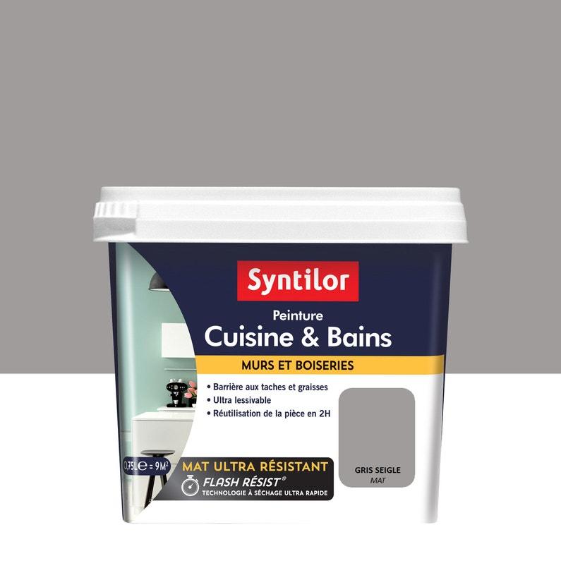 Peinture Mur Cuisine Et Bains Syntilor Gris Seigle Mat 0 75 L
