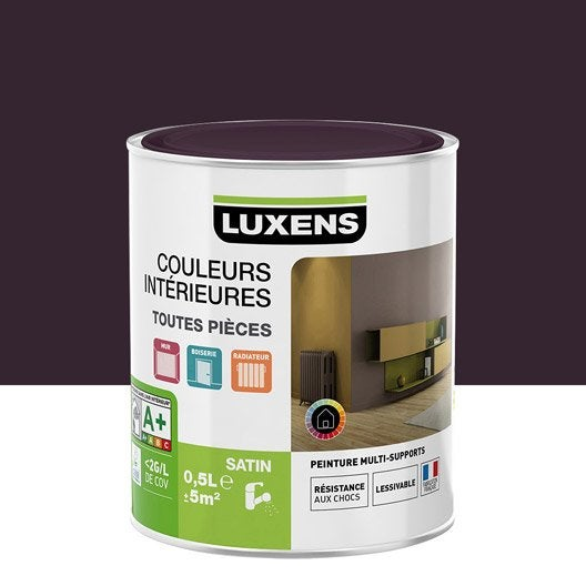 peinture violet aubergine 1 luxens couleurs int rieures satin 0 5 l leroy merlin. Black Bedroom Furniture Sets. Home Design Ideas