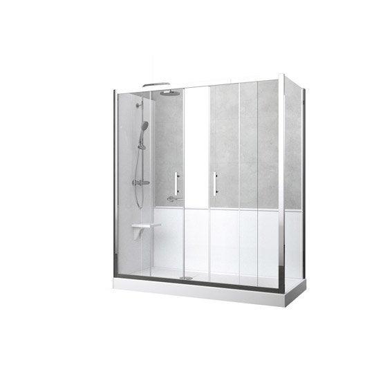 kit de remplacement baignoire par douche entre 2 murs 170. Black Bedroom Furniture Sets. Home Design Ideas