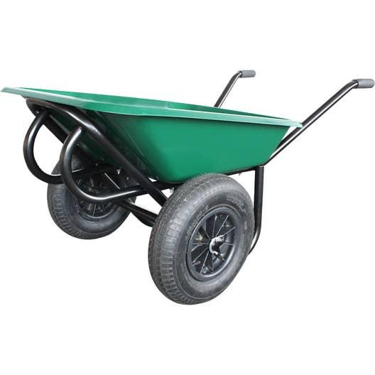 brouette roue gonfl e acier peint vert confort altrad 100 l 250 kg leroy merlin. Black Bedroom Furniture Sets. Home Design Ideas