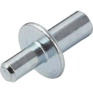 Lot de 20 taquets à enfoncer, acier gris, Diam.4/5 mm