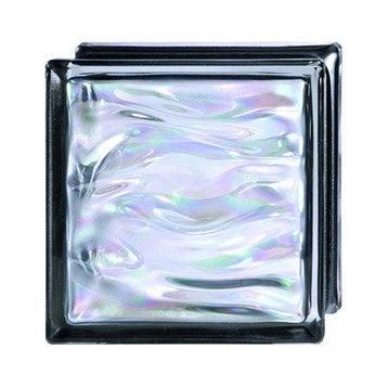 Brique de verre, noir vague brillant