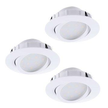 Kit 3 spots à encastrer Muniz orientable EGLO LED intégrée blanc